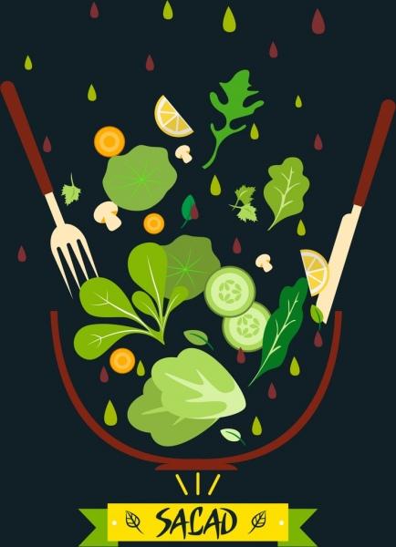 fresh salad background vegetables icons dark design