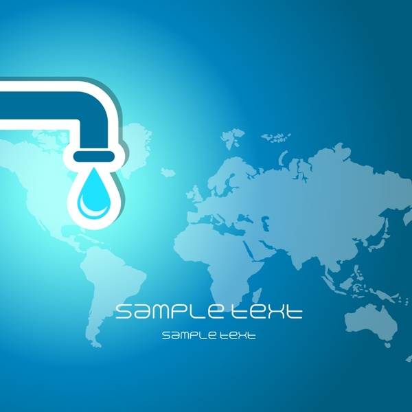 ecology banner water tap continental map blue flat