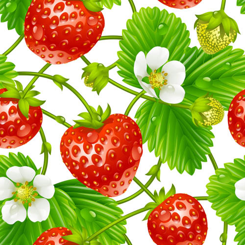fresh strawberries with flower seamless pattern vector