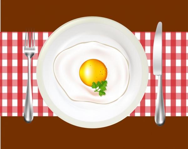 fried egg background shiny dish knife fork icons decor