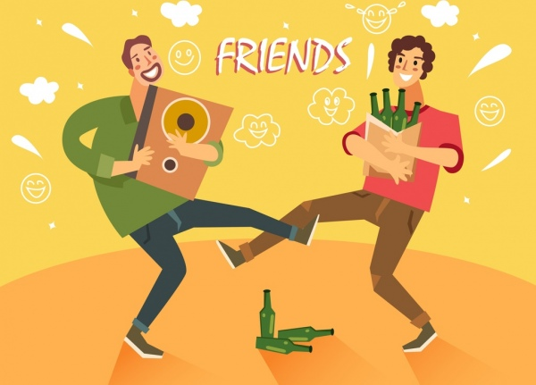 friends background funny drunk men icons cartoon characters