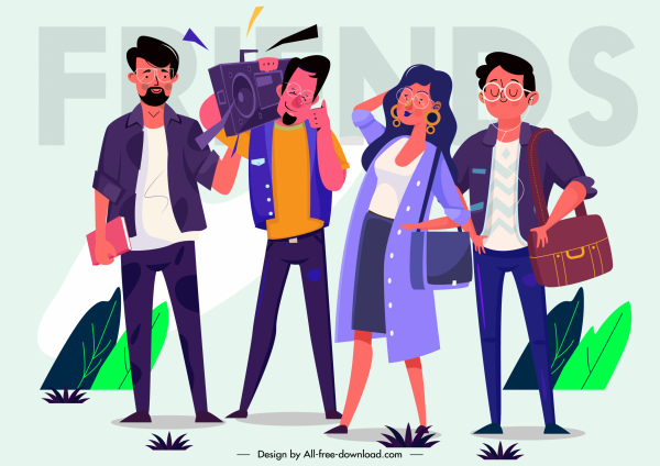 friends painting modern design colored cartoon characters sketch