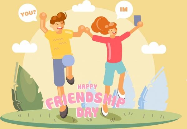 friendship day banner joyful people icon cartoon characters