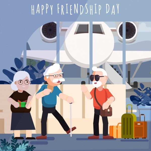 friendship day banner old people luggage airplane icons