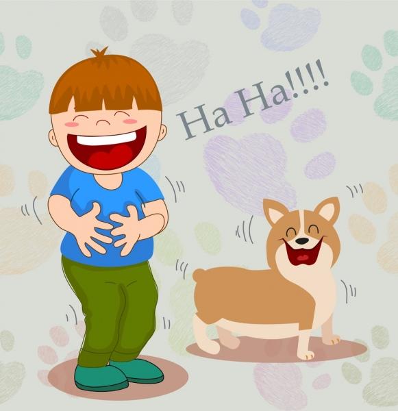 friendship drawing boy puppy icons funny cartoon design