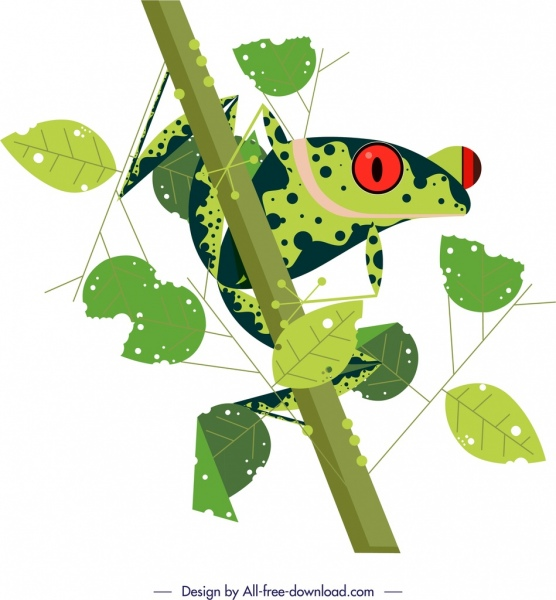 frog animal painting green design leaves ornament