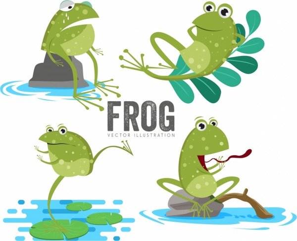 frog icons sets cute cartoon style