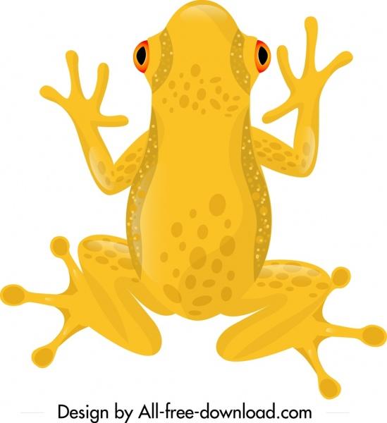 frog wild animal icon yellow design cartoon sketch