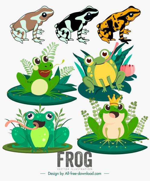 frogs icons classic cartoon characters sketch