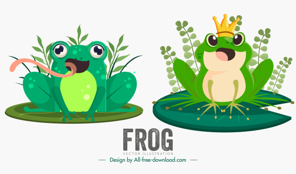 frogs icons cute design cartoon characters