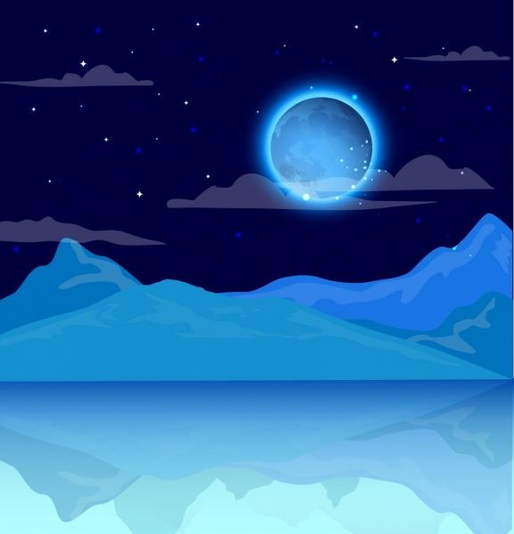 frozen landscape background shiny moon ice sea icons