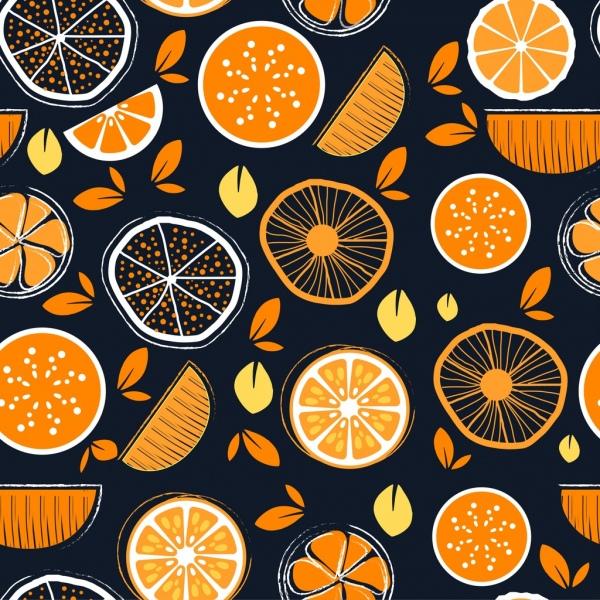 fruit background orange flat handdrawn sketch slices icon
