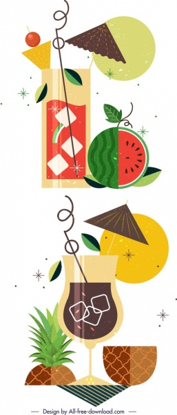 fruit cocktail background templates watermelon pineapple icons decor