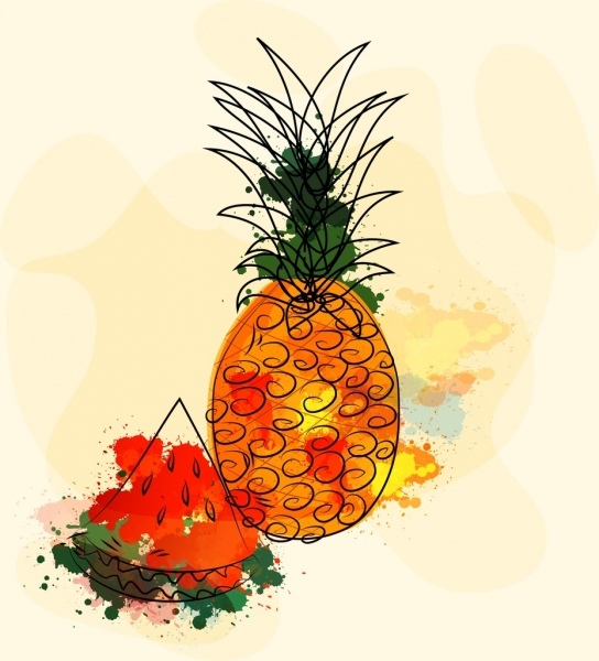 fruit drawing grunge watercolor decoration handdrawn sketch