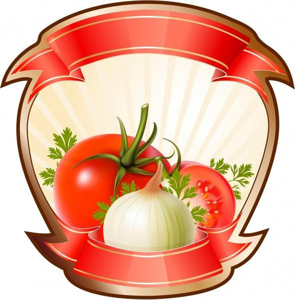 vegetables label template colorful modern closeup design