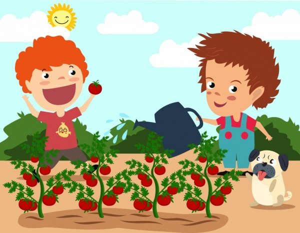 fruit growing theme tomato trees kids icons