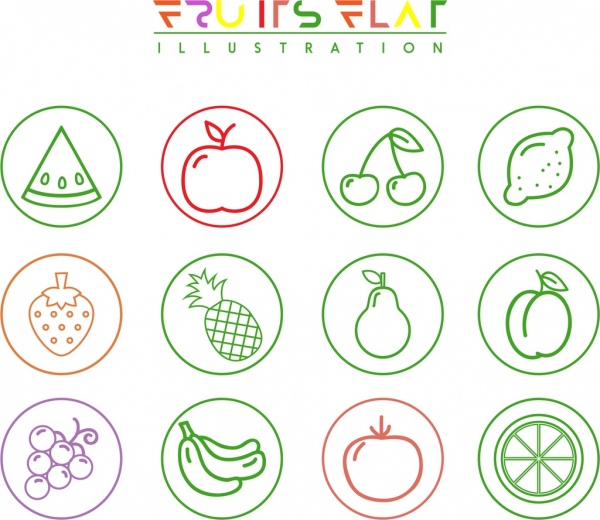 Fruit Icons Isolation Various Flat Symbols Sketch Free Vector In