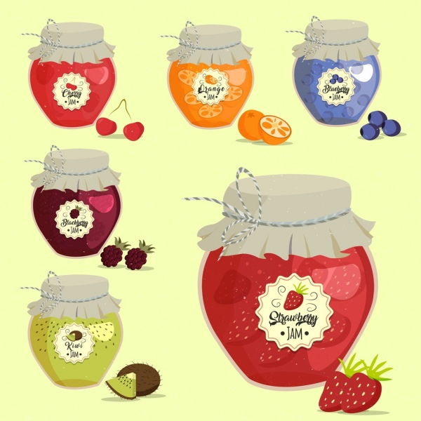 fruit jam pots icons isolation various multicolored design