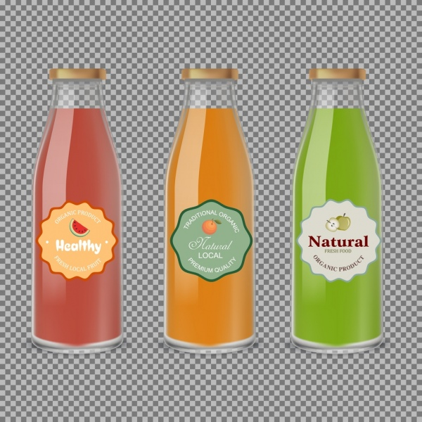 fruit juice advertisement glass bottle icons multicolored design