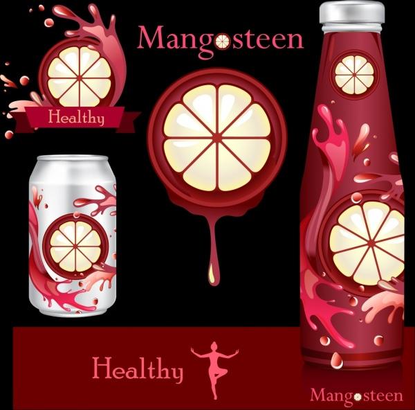 fruit juice advertising mangosteen bottles decoration splashing manner