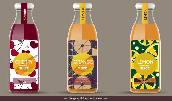 fruit juice label templates elegant colored flat decor