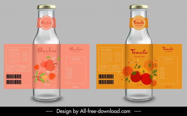 fruit juice label templates tomato peach sketch