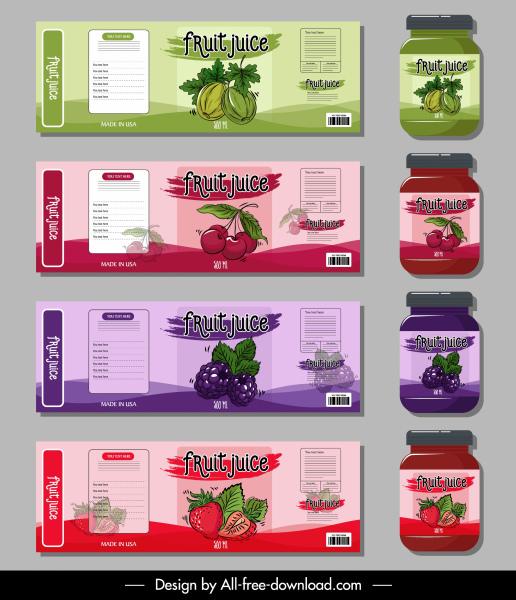 fruit juice labels templates dark colored classic decor