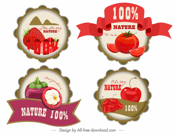 fruit label templates colored modern decor