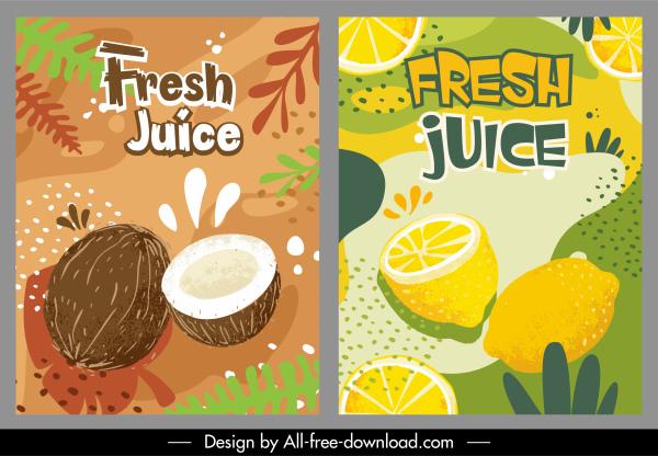 fruit product advertising templates handdrawn coconut lemon decor