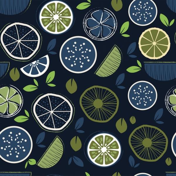 fruit slices pattern dark green flat handdrawn sketch