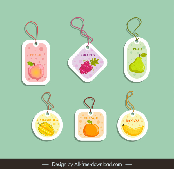 fruit tags templates modern colored flat decor