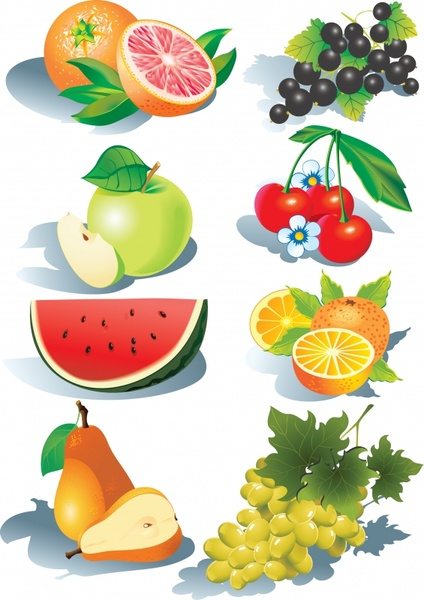 fresh fruits icons modern 3d colorful design