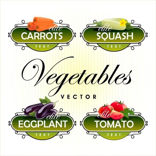 Fruit With Vegetables Labels Design Set Free Vector In
