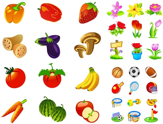fruits and vegetables motor flower icon vector