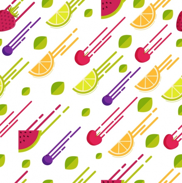 fruits background colorful motion design repeating slices icons