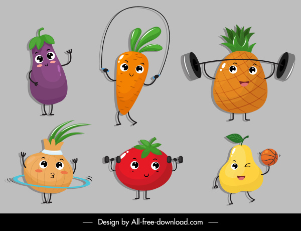 fruits icons funny stylized sketch cartoon characters