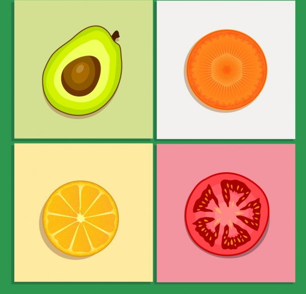 fruits ingredients icons colored flat cut slice design