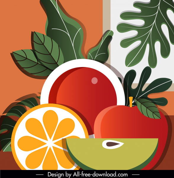 fruits painting colored classical flat decor