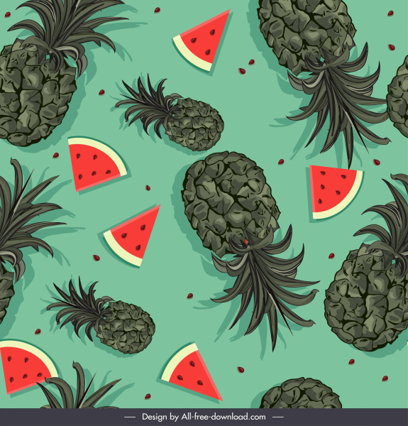 fruits pattern template flat watermelon pineapple sketch