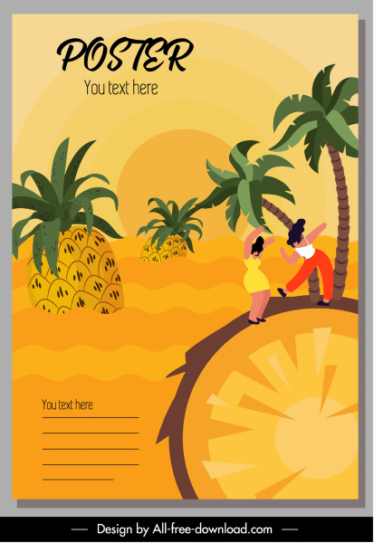 fruits posters pineapples islands sketch colorful classic