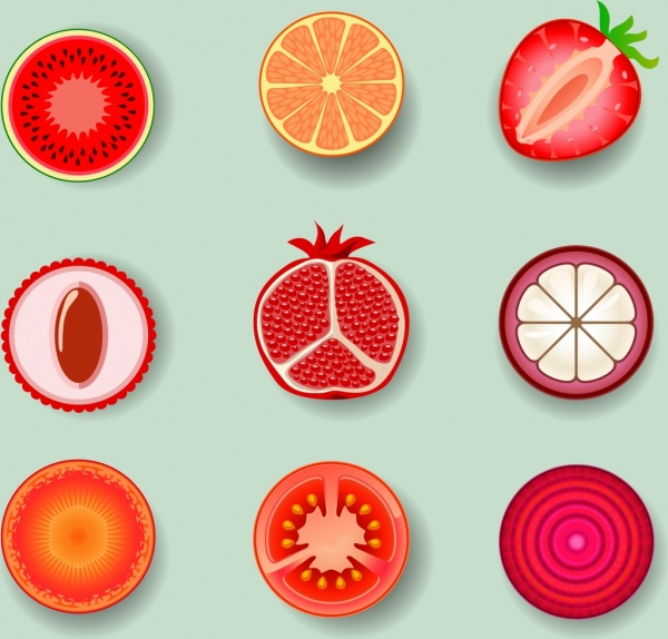 fruits slices icons red design various types
