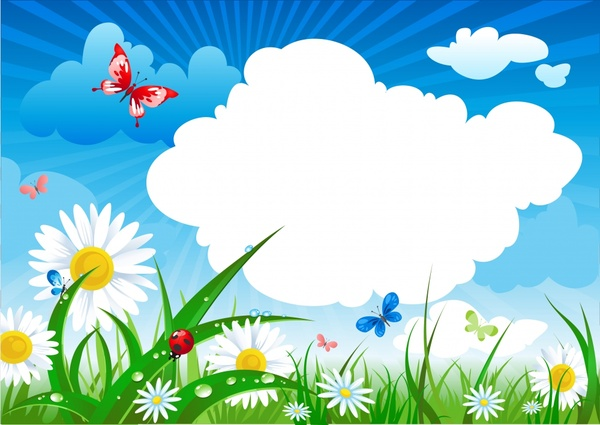 spring background butterflies flowers cloudy sky icons