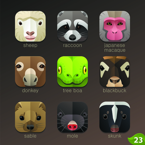 funny animal icons flat style vector
