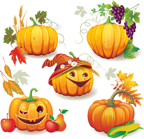 Funny autumn pumpkins vector graphic Free vector in Adobe ...