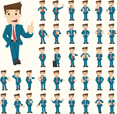 Funny business people character creative vector Free vector in