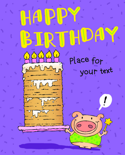 Funny Cartoon Birthday Cards Vector Free Vector In Encapsulated