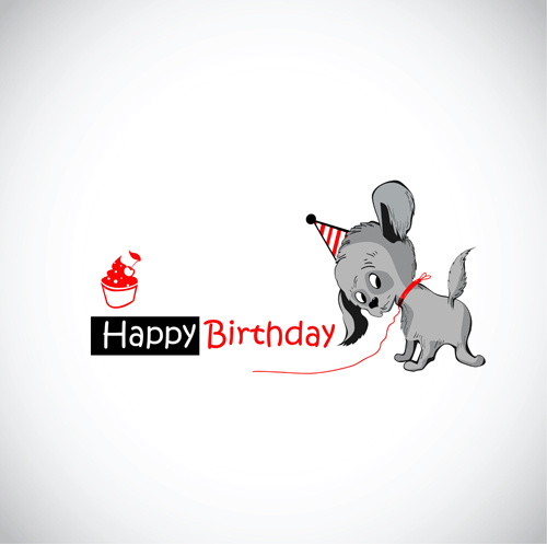 Funny Cartoon Character With Birthday Cards Set Vector Free Vector