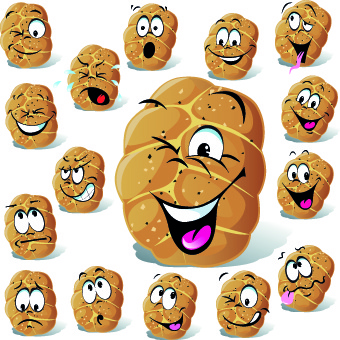 funny cartoon food expression vector