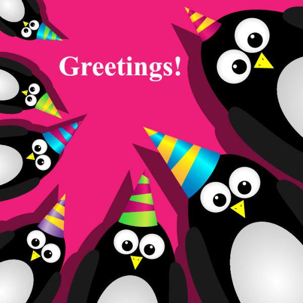 funny cartoon happy birthday cards vector