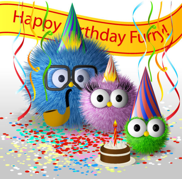 funny cartoon happy birthday cards vector